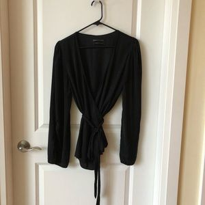 Urban Outfitters Black Silky Wrap Top
